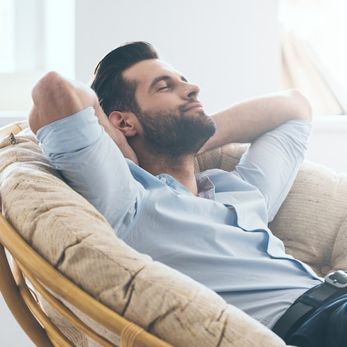 A man relaxing thanks to sedation and Restorative Dentistry Palm Beach Gardens