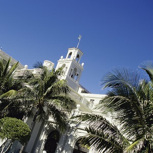 View of Historical building amidst palm trees